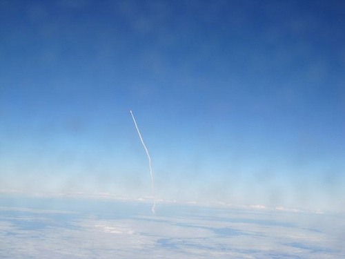 My mom saw the Space Shuttle launch from a JetBlue flight about to land in Florida. What are the odds?!